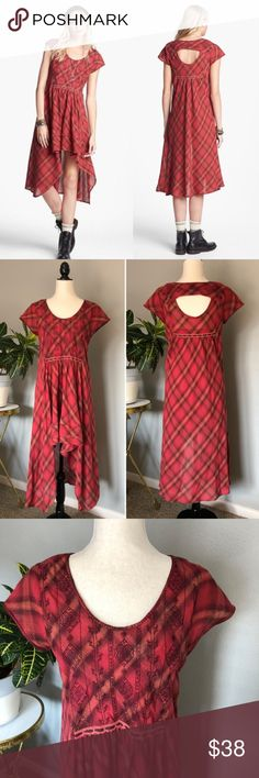 Free People Rad for Plaid Hi-Lo Dress Made of lightweight, gauzy cotton, this dress is great for those upcoming festivals! Embroidered chest piece, opening in back, draped front. Only flaws are two missing threads on the collar & one of the hem lines (see last photo). Tank slip underneath. Size XS but since it's Free People it could probably fit a small or medium.  👗 Dress form is a size 4/6 🏠 Pet & smoke-free home  🚫 No trades  💕 I love offers ✨ Posh Ambassador ✨ Free People Dresses…