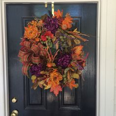Fall Wreath with Purple Mums Cabbage Roses by WiltshireWildflowers