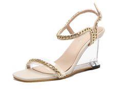 Beige Chain Decor Women's Wedge Sandals Wedge Sandals, Ladies Sandals, Wedges, Chain, Lady, Heels, Women, Decor, Fashion