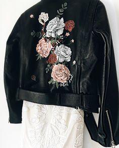 Painted Leather Jacket / Bridal Jacket with Painted Florals by Diy Clothing, Custom Clothes, Painted Leather Jacket, Embroidered Leather Jacket, Custom Leather Jackets, Diy Fashion, Fashion Outfits, Denim Art, Painted Clothes