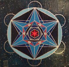 Cubo de Metatron, obra sobre tela, 33 x 33 cm.