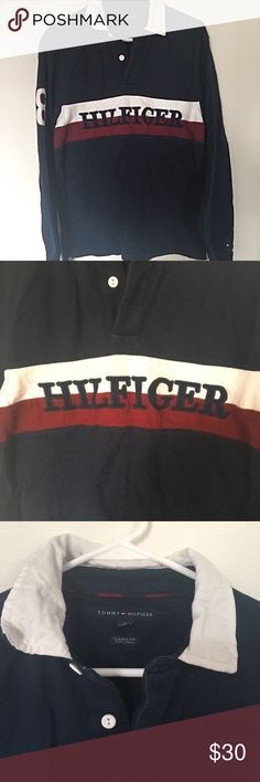 644aded00 Vintage Style Tommy Hilfiger Long Sleeve Polo Great used condition normal  wash and wear. No