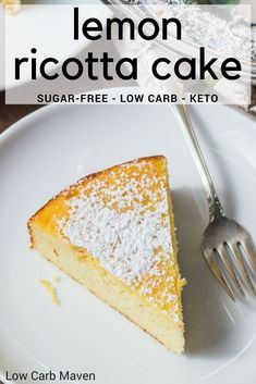 An easy Italian cake made from ricotta cheese and almonds is the perfect low carb dessert. An easy Italian cake made from ricotta cheese and almonds is the perfect low carb dessert. Low Carb Sweets, Low Carb Desserts, Low Carb Recipes, Banting Desserts, Vegetarian Recipes, Free Recipes, Stevia, Lemon Ricotta Cake, Ricotta Cheese Desserts