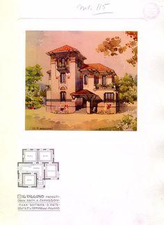 Il villino | Cavazzoni, Augusto Vintage Architecture, Historical Architecture, Architecture Details, Urban Design Plan, Plan Design, Small Floor Plans, House Floor Plans, Mexican Home Design, Vintage House Plans