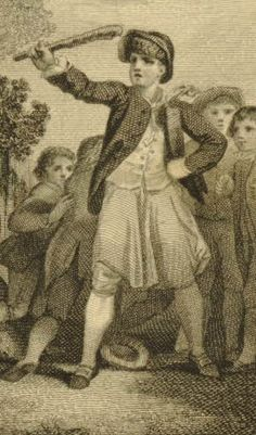 """From the series """"Peregine Pickles"""" dated 1781.  """"Tom Pipes Leads Children in an Attack on a Gardener"""". British Museum."""