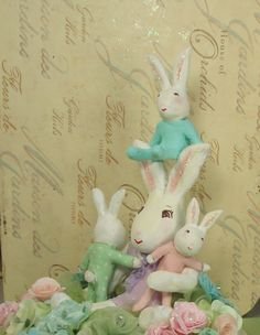 Mommy bunny and her baby bunnies shabby chic cake topper centerpiece decoration ooak paper clay rabbits by sugarcookiedolls on Etsy