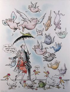 Raining cats and dogs, Ronald Searle Pig Illustration, Ink Illustrations, Character Illustration, Chris Riddell, Ronald Searle, Happy Pig, Quentin Blake, Mini Pigs, New Yorker Cartoons