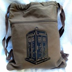Tardis Backpack Doctor Who Brown Drawstring Canvas Book Bag | bagnabitbags - Bags & Purses on ArtFire