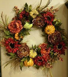 Hobby Lobby didn't have any fall wreaths I liked so I made one!  Thanks HL!