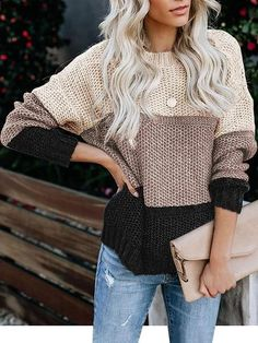 Baby Cutie Plus Size Loose Sweater Women Winter Long Sleeve Sweater Striped Multicolor Casual Pullover Ladies Knitted Sweater Fall Fashion Trends, Autumn Fashion, Spring Fashion, Fashion Ideas, Pattern Cute, Color Blocking Outfits, Pullover Mode, Loose Sweater, Color Block Sweater