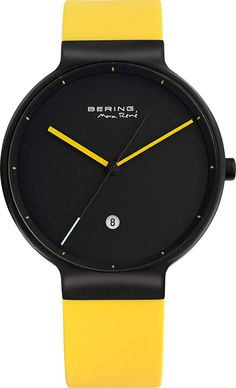 Black Face Bering Watch with Yellow Silicone Strap & Dial Gents Watches, Cool Watches, Wrist Watches, Bering, Stainless Steel Case, Smart Watch, Clock, Ebay, Sketches
