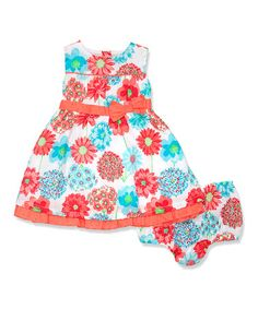 Look what I found on #zulily! Aqua & Coral Floral Babydoll Dress & Diaper Cover - Infant by Penelope Mack #zulilyfinds