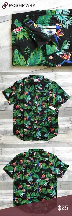 NWT Men's Tropical Button-down Brand new button-down shirt from Old Navy!  All-over tropical print on a black background. Short Sleeves.  100% cotton. Old Navy Shirts Casual Button Down Shirts