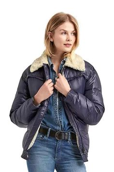 We found 10 shearling coats that don't cost a fortune! Splice together shearlingwith the *other* outerwear MVP of the season (the puffer), and you get this mutant. $148, gap.com.