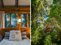 These cabins are a five minute walk into this thick forest and feel like a tree-house hideaway where you could sit for ages writing or listening to birdsong.