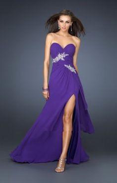 Fente en bas robe bleue de soiree bustier LF17621