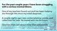 For the past couple years I have been struggling with a serious mental illness.