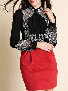 Shop Blouses - White Vintage Silk Pierced Floral Blouse online. Discover unique designers fashion at StyleWe.com.