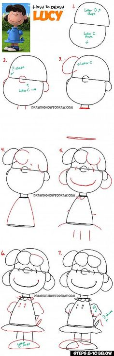 Kunst Zeichnungen - How to Draw Lucy from The Peanuts Movie Step by Step Tutorial - Best Art Pins Love Drawings, Doodle Drawings, Disney Drawings, Easy Drawings, Drawing Lessons, Drawing Techniques, Art Lessons, Drawing Tutorials, Drawing Ideas