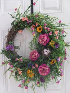 Front Door Wreath, Spring or Summer Wreath, Wildflower Wreath ,Country Wreath, Country Decor, Ranunculus, Bird nest, Ferns, Ivy via Etsy