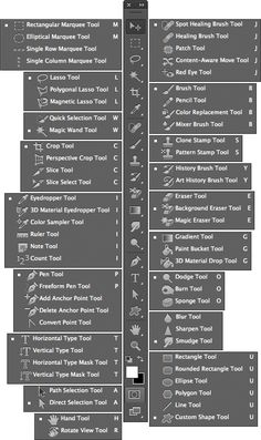 Photoshop CS6 sports a hefty number of tools. Not to fear. This handy guide shows you the Photoshop tool icon and the name of each tool, even if it is tucked away, hidden in a flyout menu:
