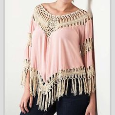 061215 Blush Chambray Fringe Plus from Morties Boutique for $46.95