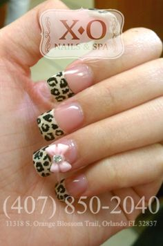 French Leopard Nail Design with 3D Bows  Hand Painted / Drawn Nail art. NOT STICKERS. https://www.facebook.com/XONailsOrlando