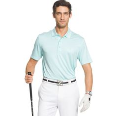 Men's IZOD Classic-Fit Striped Performance Golf Polo, Size: Medium, Blue Other