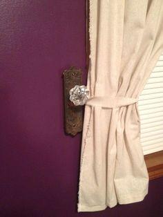 Door knob curtain tie back