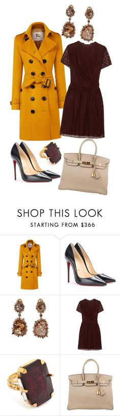 """Happy Thanksgiving!"" by ultraviolet92 ❤ liked on Polyvore featuring Burberry, Christian Louboutin, Sharon Khazzam, Carven, Erickson Beamon and Hermès"
