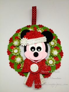 mickey mouse christmas wreath punch art - bjl