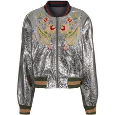 Aviu Silver Embroidered Bomber Jacket ($715) ❤ liked on Polyvore featuring outerwear, jackets, striped jacket, shawl collar jacket, silver jacket, embroidered bomber jacket and multi colored jacket