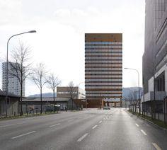 Gigon Guyer . ewz Areal Herdern . Zurich (2) Gigon Guyer, Zurich, Facades, Architects, Multi Story Building, Bandeaus, Building Homes, Facade