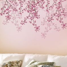 Stencil for walls Weeping Cherry - Reusable stencils not Wall decals