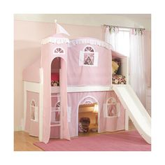 Fantasy Castle Tent Low Loft Bed in Pink and White ❤ liked on Polyvore featuring house, rooms, baby, baby girl and baby stuff