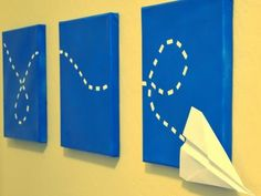 for Mini-Monet.  using cotton balls they create the jet trail of the paper airplane on poster board.  One day paint/second day glue