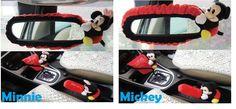 NEW Disney Mickey / Minnie Car Rear View Mirror Cover Handbrake Gear Cover Set