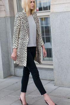 Dalmatian coat + black skinnies at KG Street style