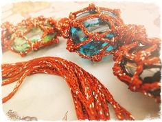 Red macrame stones necklace natural stone macrame por FamDdaear