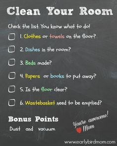 Getting Kids to Clean Up Their Rooms – a Checklist. What a cute way to keep kids accountable for a clean room! Available in black or white. Clean Bedroom, Kids Bedroom, Bedroom Cleaning, Boys Bedroom Ideas Tween, Cleaning Checklist, Cleaning Hacks, Kids Checklist, Daily Checklist, Cleaning Solutions