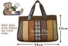 [체크스트라이프 가방(패턴)] Quilted Tote Bags, Patchwork Bags, Clutch Purse, Crossbody Bag, Sac Vanessa Bruno, Hawaiian Quilt Patterns, Japanese Bag, Baby Dress Patterns, Denim Bag