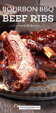 Bourbon Barbecue Beef Back Ribs Sriracha or other hot chili sauce, bourbon and soy sauce give these beef back ribs a sweet and spicy flavor that's absolutely divine. Barbecue sauce adds to the depth of flavor. Bbq Beef Ribs, Beef Back Ribs, Beef Ribs Recipe, Bbq Meat, Best Beef Recipes, Rib Recipes, Roast Recipes, Delicious Recipes, Tasty