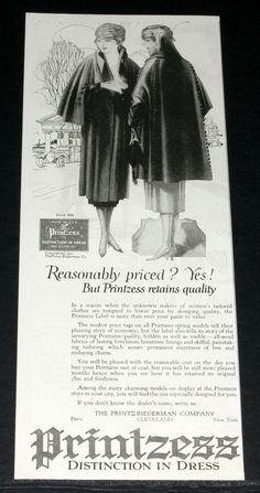 1921 Old Magazine Print Ad Printzess Tailored Women's Clothes Retain Quality  