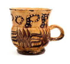 staffordshire 17th century slipware mug...reading..no pope
