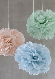 Pom poms (set of 3) pastels -   mint green, powder blue and ballerina pink. loving this color combo.