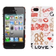 Love Pattern Protective Hard Plastic Case for iPhone 4 White & Red