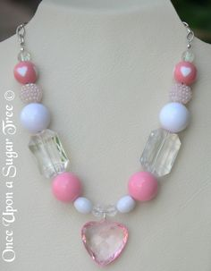 Girl's Beaded Necklace Light Pink and Clear Beaded Necklace with Pink Heart Pendant Gumball Beaded Necklace