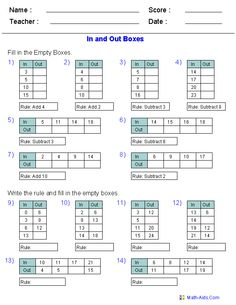 In and Out Boxes for Addition and Subtraction Using Decimal Numbers Maths Algebra, Math Tutor, Math Teacher, Teaching Math, Teaching Ideas, Teaching Geography, Teacher Stuff, Math Patterns, Number Patterns