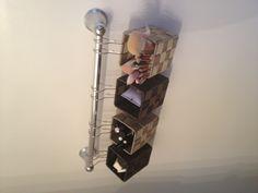 Makeup storage solution. Wall mount towel rack.