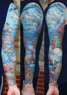 Since much of tattoo tradition comes from their popularity among sailors it's no surprise that there are a plethora of tattoos celebrating the sea. When picking this selection of tattoos we were especially fond of the way artists depict the ocean through gorgeous blue ink and the details given to the bizarre creatures found within the seas. Enjoy. Advertisement That treasure isn't going to be easy to get to. Advertisement An amazing tattoo of the ocean's fiercest predat...